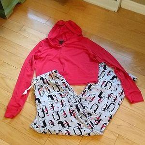 Ultra cute cropped hoodie high rise pants pyjama S